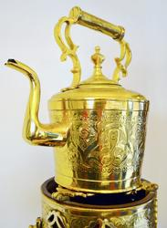 Vintage Rare Brass Kettle / Tea Pot With Footed Warmer
