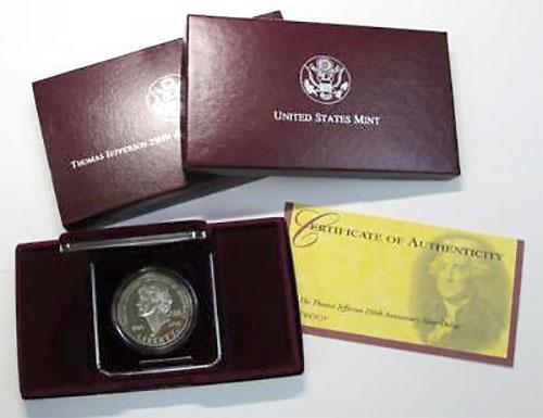 8 x 1993-S Jefferson Proof Silver Commem $'s