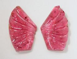 Carved Pink Tourmaline Pair