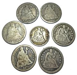6 Seated Dimes and a Half Dime