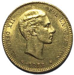 1878  Spain Alfonso X11 25 Peseta Gold