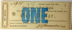 1862 CU $1 Scott County Virginia note