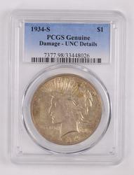 Genuine Damage-UNC Details 1934-S Peace Silver Dollar - PCGS Graded