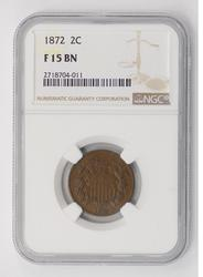 F15BN 1872 Shield 2 Cent Piece - NGC Graded