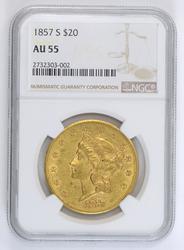 1857-S $20 Liberty Gold Double Eagle - NGC AU55