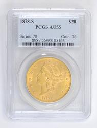 1878-S $20 Liberty Head Gold Double Eagle - PCGS AU55