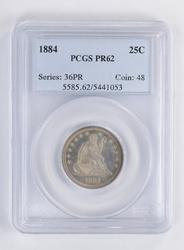 PR62 1884 Seated Liberty Quarter - PCGS Graded