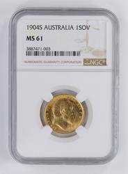 MS61 1904-S Australia 1 Sovereign - NGC Graded