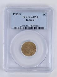 AU55 1909-S Indian Head Cent - PCGS Graded