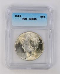 MS66 1923 Peace Silver Dollar - ICG