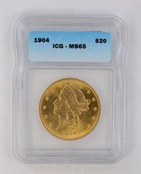 1904 $20.00 Liberty Head Gold Double Eagle - ICG MS65