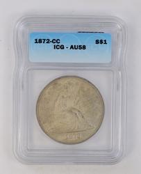 Highlight 1872-CC Seated Liberty Dollar - ICG AU58