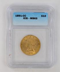 1891-CC $10 Liberty Gold Eagle - ICG MS63