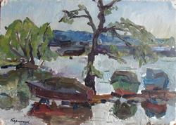 Original Oil on Cardboard Pier by Mikhail Borimchuk