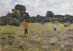 Great Oil on Cardboad Workers in a Meadow
