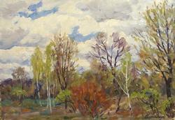 Collectable Oil on Cardboard Landscape by Mikhail Borimchuk