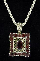 Sterling Silver & Garnet Pendant and Chain
