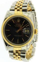 Mens Classic Rolex Datejust 18K & Stainless Steel
