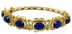 Fancy 14kt Gold Lapis Bangle Bracelet