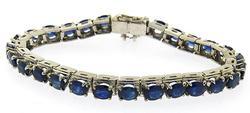 14kt White Gold 11 Carat Sapphire Bracelet