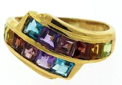 Multi Colored Gemstone 14kt Gold Band Ring