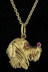 Puppy Love! 18kt Gold Pendant with Rubies!