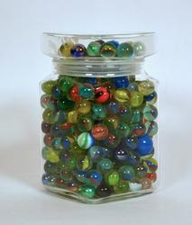 Jar with a Variety of Almost 300 Vintage Glass Marbles