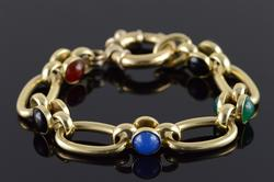 Heavy 14kt Gold Multi Gemstone Bracelet