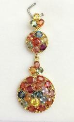 Gorgeous Multi Colored Sapphire & Gold Pendant