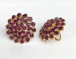 14kt Gold & Ruby Omega Back Earrings