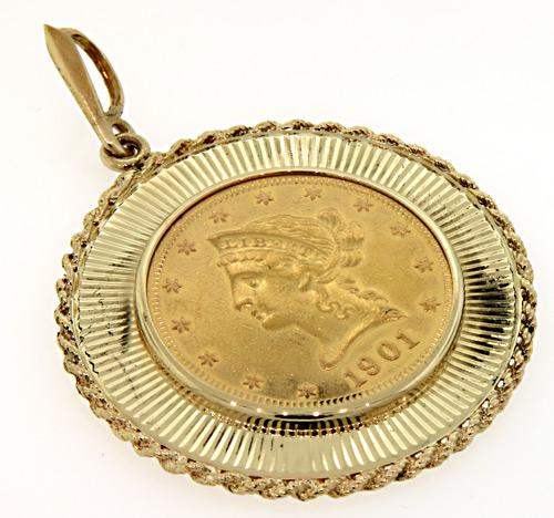 1901 Liberty $10 Gold Coin Pendant