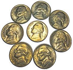 8 Choice BU 1950 D Key Jefferson Nickels