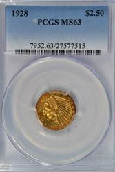 Great Choice BU 1928 $2.50 Indian Gold. PCGS MS63