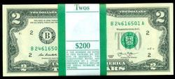 Gem CU $200 Pack of 2013 Series $2 Bills in Sequence