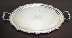 Highly ornate heavy sterling silver tray