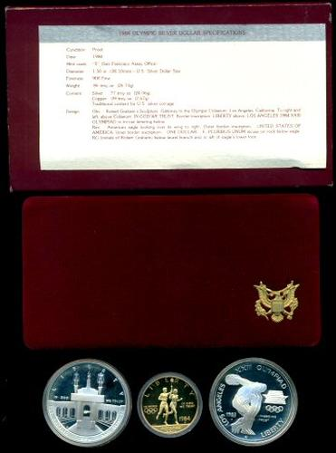 1983-84 Olympic Commem 3-coin Proof set with $10 Gold