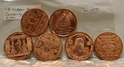 6 ea PROOF 1 Oz (av.) Copper rounds - Currency/coin