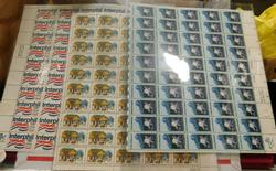 3 sheets, all 13 cent stamps of the 1970's, $19.50 face