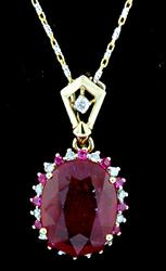 14kt Gold Ruby and Diamond Necklace