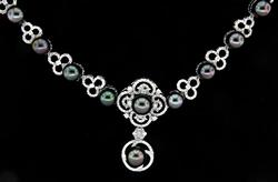 Intricate Tahitian Pearl & Diamond Necklace