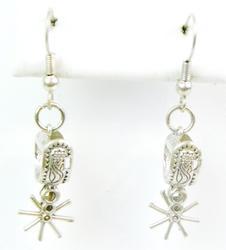 Signed Vintage Sterling Western Spur Earrings