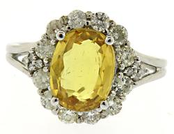 2+ctw Yellow Sapphire & Diamond Ring in 14kt Gold