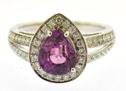 Unheated Pink Sapphire & Diamond 18kt Ring, GIA