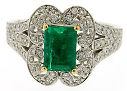 Emerald & Diamond Ring, 18K
