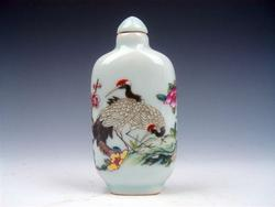 Hand Painted Glazed Porcelain Snuff Bottle