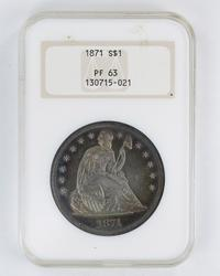PF63 1871 Seated Liberty Silver Dollar - NGC Old Holder