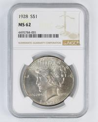 MS62 1928 Peace Silver Dollar - NGC Graded