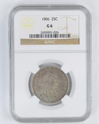 G6 1806 Draped Bust Quarter - NGC Graded