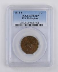 MS63BN 1914-S US Philippines Cent - PCGS Graded