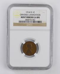 MINT ERROR G6BN 1914-D Lincoln Wheat Cent - Obverse Lamination - NGC Graded